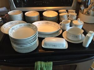Porcelain Dishes with Silver trim- Diane pattern
