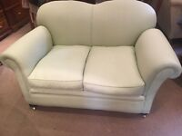 Neutral Pale Green 2 Seater Sofa on Castors - CAN DELIVER