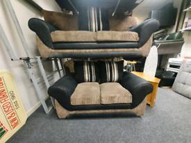 3&2 seater sofa in black and tan corduroy fabric £299
