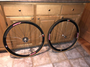 A pair of Vintage Zipp 303 Tubular Wheels with 10 Speed Cassette