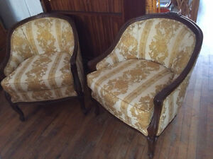 Pair of Vintage Tub Upholstered Chairs