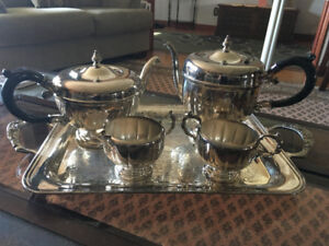Tea & Coffee set, tray, cream & sugar.  Silverplated.