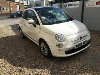 2008 FIAT 500 LOUNGE 1.4 PETROL WHITE RED LEATHER PAN ROOF ONLY 50K MILES