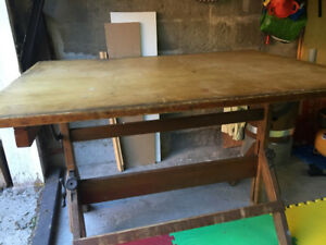 Antique wood drafting table