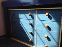 Blue double chest of drawers