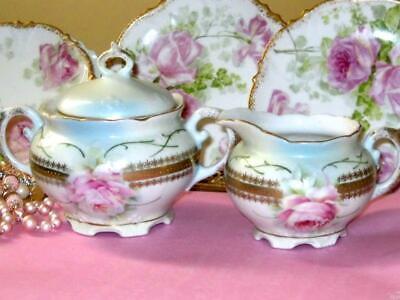 Leuchtenburg Germany Cabbage Roses Blue Cream Gold Beaded Creamer & Sugar Bowl