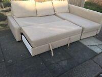 IKEA beige corner lshape Sofabed with storage
