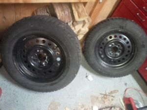 One Pair of Snow tires P225/60R16 rims 114.3 x 5