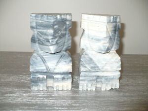 Rare Hand Carved Aztec Tiki Marble Bookends