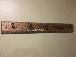 Handcrafted Custom Rustic Live Edge Coat Rack w/ Railroad Spikes