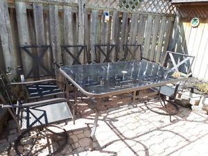 Six piece black patio set