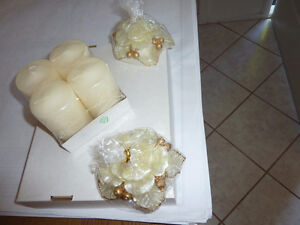 Candles - Flower Shaped with gold accents & trim