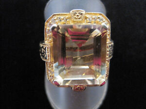 7 CARAT CITRINE EMERALD CUT CITRINE & SAPPHIRE RING. NEW!