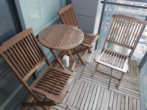 Wood bistro patio set with 3 chairs, cushions