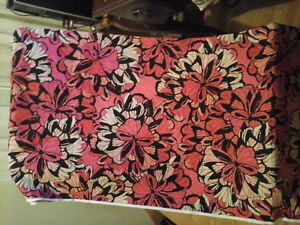fabric 4.5 yards pink,black,salmon cream red