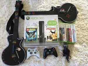 Xbox 360 with guitars and games