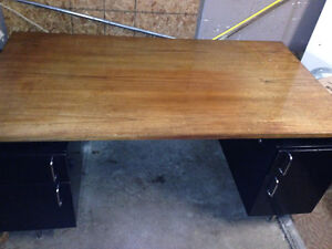 Large solid desk with built in file drawers $100