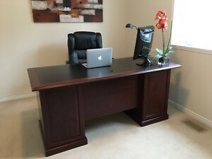 Office Desk and Glass Bookshelf - Great Condition!