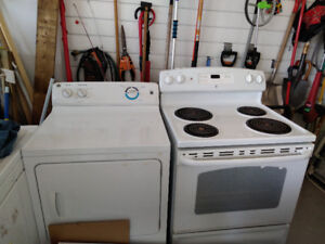 18 CU FT FRIDGE, Stove, Washer and Dryer