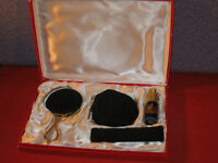 Cobalt Blue Limoges France Vanity Dresser Set Mirror Perfume