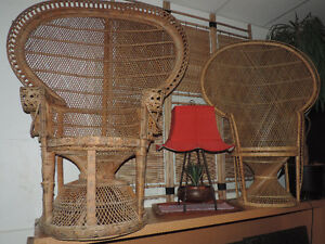 Vintage  Peacock wicker rattan chairs