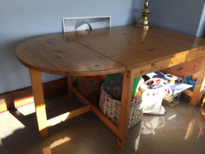 Ikea wood dining table and chairs