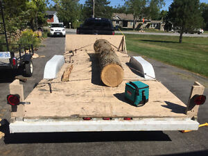Flatbed dual axel trailer with 3000lbs. Winch Belleville Belleville Area image 3