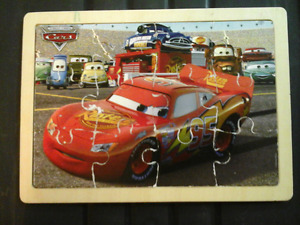 Wooden Cars Puzzle with Lightning McQueen,  Doc, and Friends