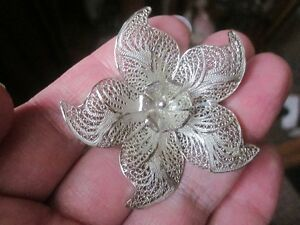 ANTIQUE Sterling Silver Handmade Filigree Flower Brooch--LOVELY