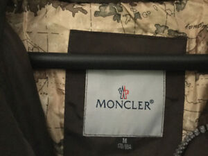 Mens Moncler lightweight down coat with fur removable hood