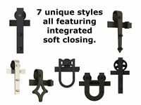 Barn door hardware with soft close, custom lengths available