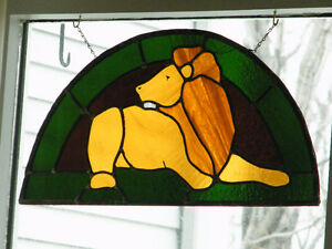 BEAUTIFUL STAINED GLASS LION WINDOW ART