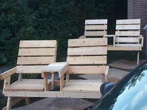 Double bench raw spruce hand crafted