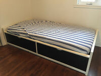Ikea single size bed with built in drawers and mattress included