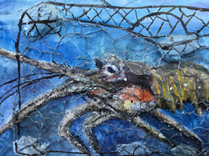 Paintings from Croatia; mixed media incl artifacts from the sea.