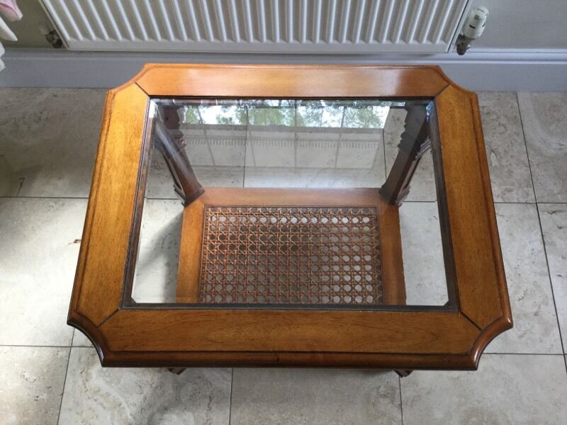 Vintage Harrods Glass Topped Wooden Cane Coffee Table