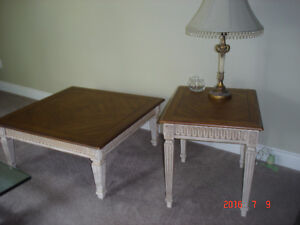 Oak coffee table with matching side table