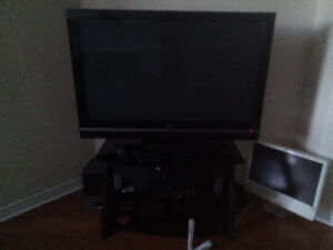 TV with glass tv stand $250