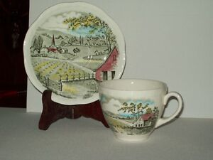 4 perfect cups and saucers, A. Meakins, Home Pastures