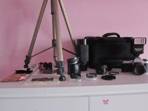 Pentax Super Program w/ 3 Lenses, Flash, Bag, Film, Tripod