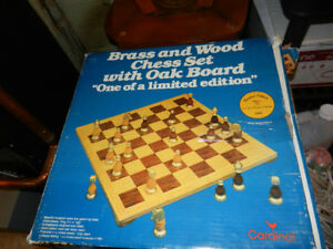 Brass and wood chess set limited edition