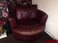 FREE NEED GONE ASAP!!! Burgundy corner sofa and cuddle chair