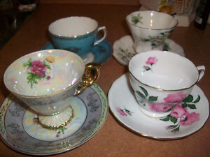 Vintage English Bone China Cups & Saucers