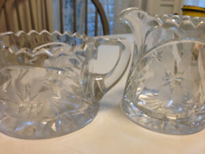 Early Hughes Cornflower Heavy Glass Cream and Sugar, pristine co