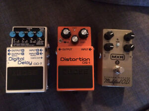 Boss DD-7, Boss DS-1 and MXR Custom Badass OD