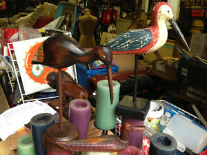 3 HAND CARVED WOODEN FOLK ART BIRDS DUCK DODO DOWICTHER