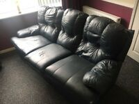 Leather 3 seater sofa & matching reclining chairs