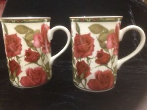 Two New Identical Collector Fine Bone China Mugs 'Roses'