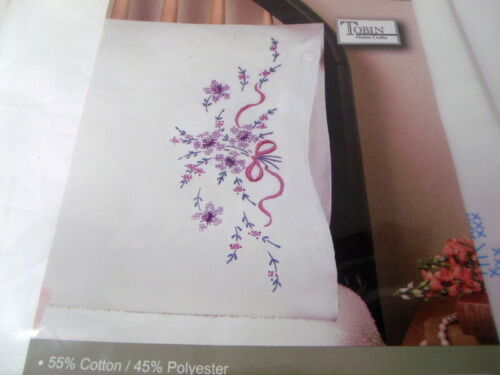 """Tobin Stamped Pillow Cases PURPLE FLORAL  for Embroidery 20"""" x 30"""" 1 Pair"""