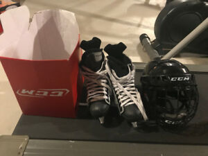 CCM Ice skates and Helmet - Almost New